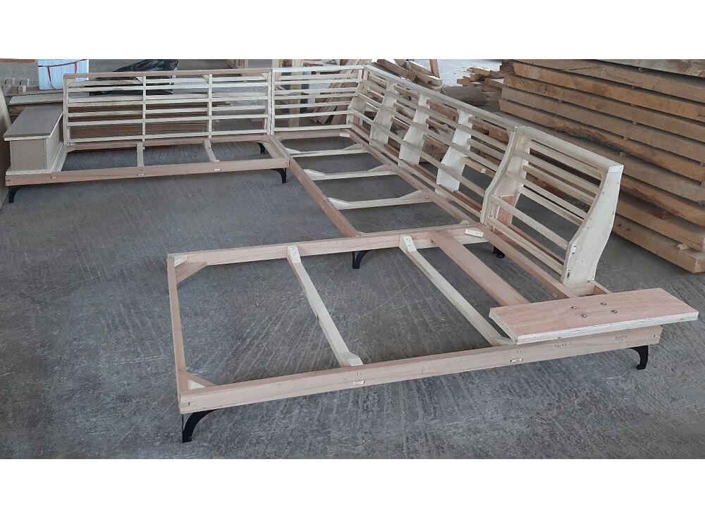 Γωνιακοί καναπέδες σε σχήμα Π από μασίφ οξιά και λεύκα μπράτσο με αποθηκευτικό χώρο και μπράτσο με ανάκλιση